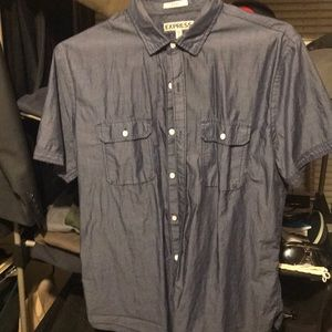 Express chambray short sleeve Button down shirt
